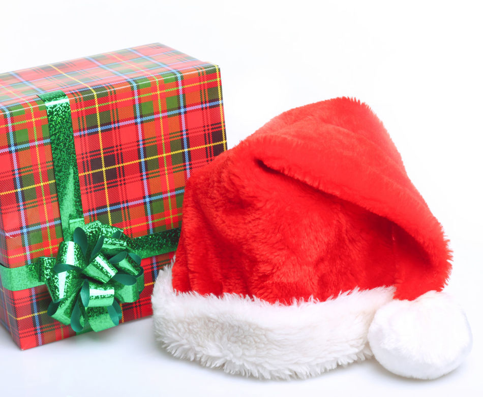 Christmas Claus Close-up Day Gift Hat Holiday - Event Indoors  No People Pattern Red Santa Studio Shot Vacations White Background Winter