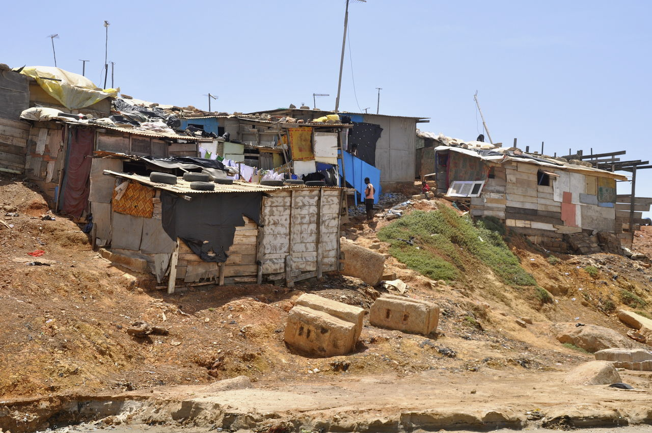 Accra Beach Corrugated Metal Developing Country Dwelling Ghana Hut Huts Outdoors Pollution Poor People  Poor Places Poverty Ribbed Roof Shanty Shelter Slum Slums Waste West Africa Built Structure Laundry Environmental Issues