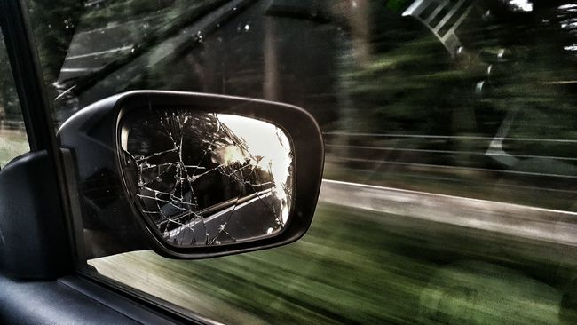 Motion Driving Mirror Car On The Road Sunset Summer The Netherlands Sunny Eyeemphoto