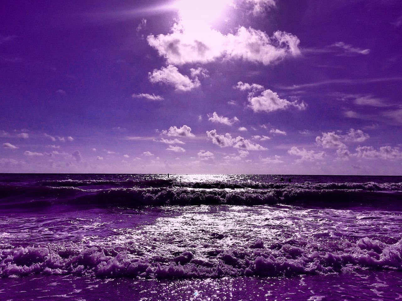 sea, beauty in nature, water, scenics, nature, tranquility, sky, tranquil scene, no people, horizon over water, outdoors, purple, day