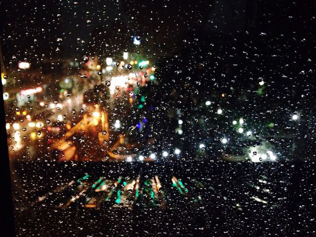 when you remember someone and then you have this Citylights Streetlights Rain Raindrops Window View Gloomy Weather