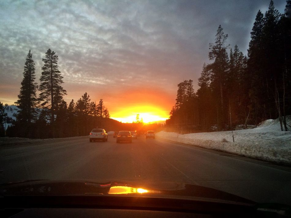On our way back from skiing at Squaw Valley, CA. A surprising and amazing sunset right in front of us. Beauty In Nature Cloud - Sky Diminishing Perspective HW 80 Idyllic Landscape Mode Of Transport Nature No People Orange Color Outdoors Reflection Road Scenics Sky Snow ❄ On The Way Sunbeam Sunlight Sunset The Way Forward Tranquil Scene Transportation MeinAutomoment Showcase June