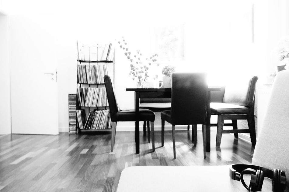 Chair Empty Absence Table Group Of Objects Indoors  Flooring Day Solitude No People Table Setting Tables Dinnerroom Living Room Blackandwhite Blackandwhite Photography Illuminated Taking Photos Taking Pictures Creative Light And Shadow Light And Shadows Monochrome Black&white