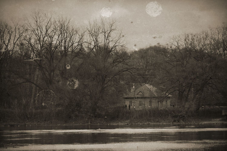 A retouched photo made to look old and damaged. Autumn Bare Tree Black Black & White Blackandwhite Building Exterior Cold Temperature Fall Filters Landscape Novemeb Old Outdoors Photoshop River Sepia
