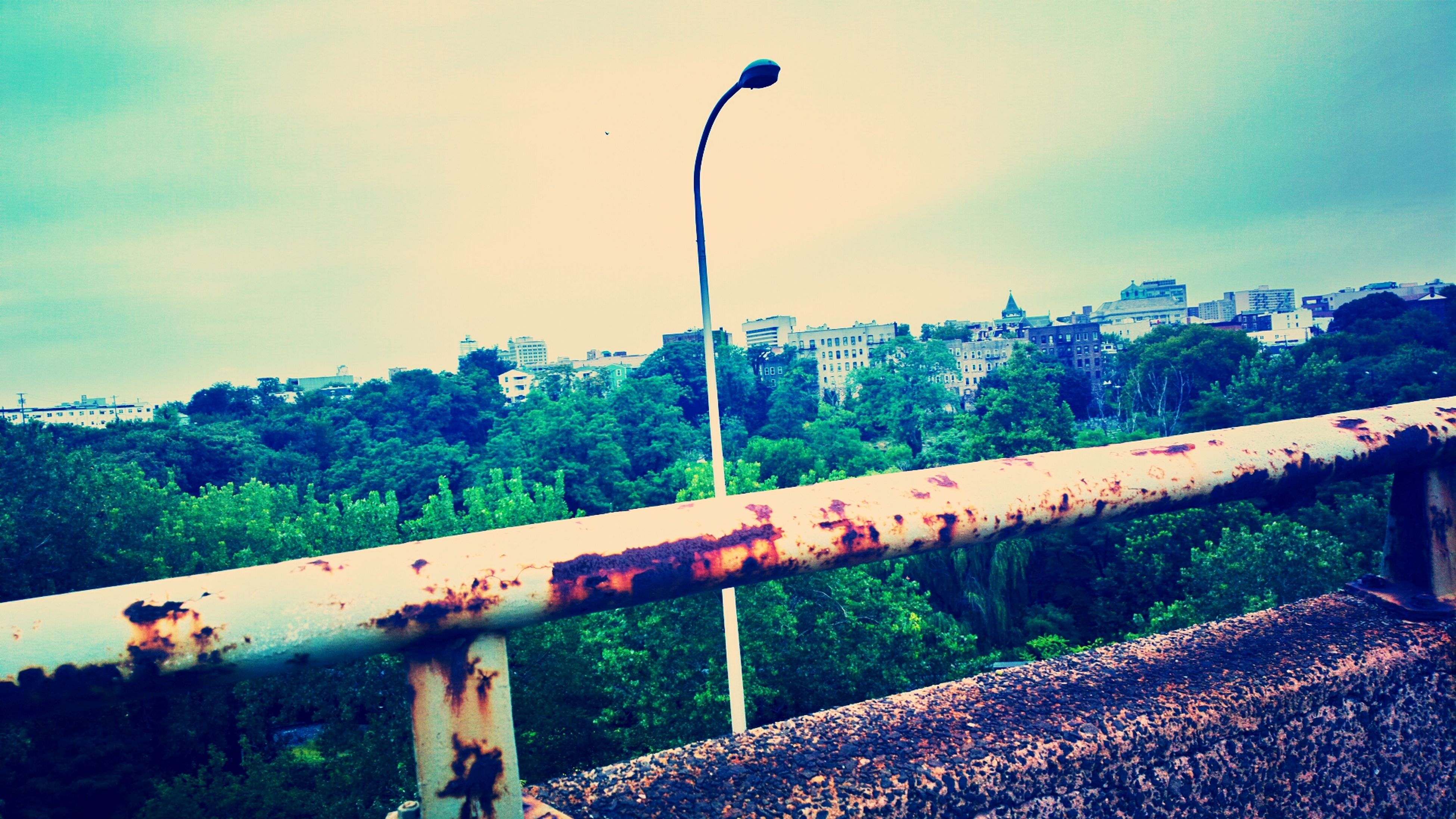 sky, railing, mountain, tree, fence, built structure, street light, architecture, nature, tranquility, tranquil scene, landscape, building exterior, scenics, beauty in nature, cloud - sky, outdoors, lighting equipment, day, growth