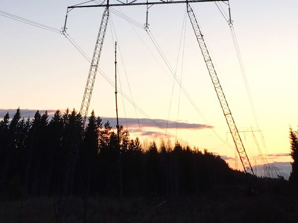 Cable Sunset Silhouette Sky Nature No People Power Line  Electricity Pylon Tranquil Scene Outdoors Landscape Tranquility Scenics Beauty In Nature Tree Clear Sky Day Mountain