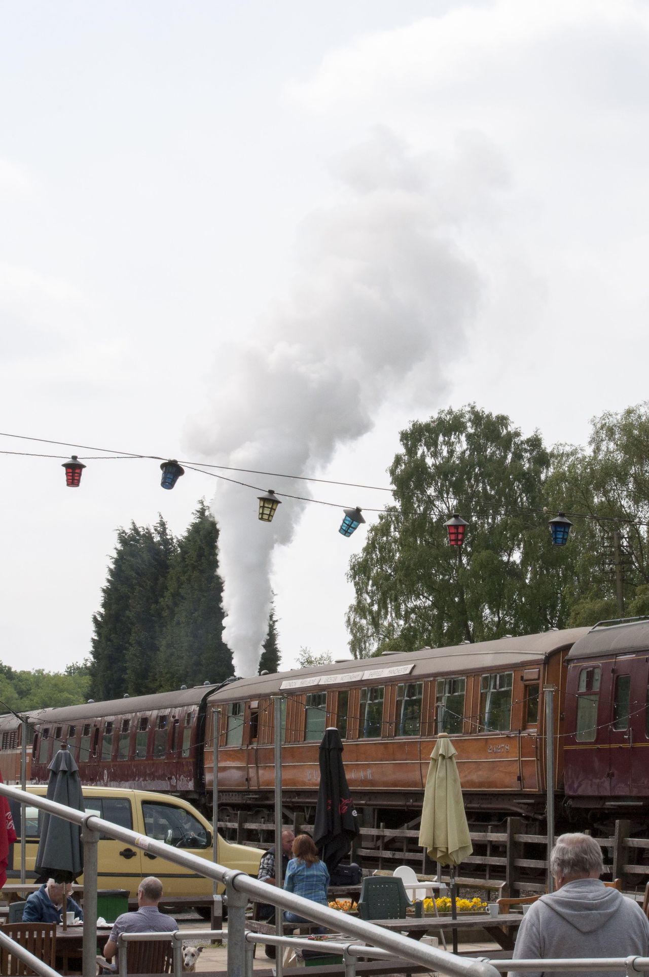 Built Structure Cloud Cloud - Sky Day Low Angle View Mode Of Transport Nature No People Outdoors Sky Steam Train Carriages