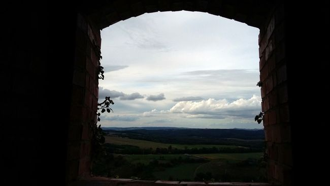 Beauty In Nature Calm Cloud - Sky Idyllic In The Castle Nature No People Trough The Window Window