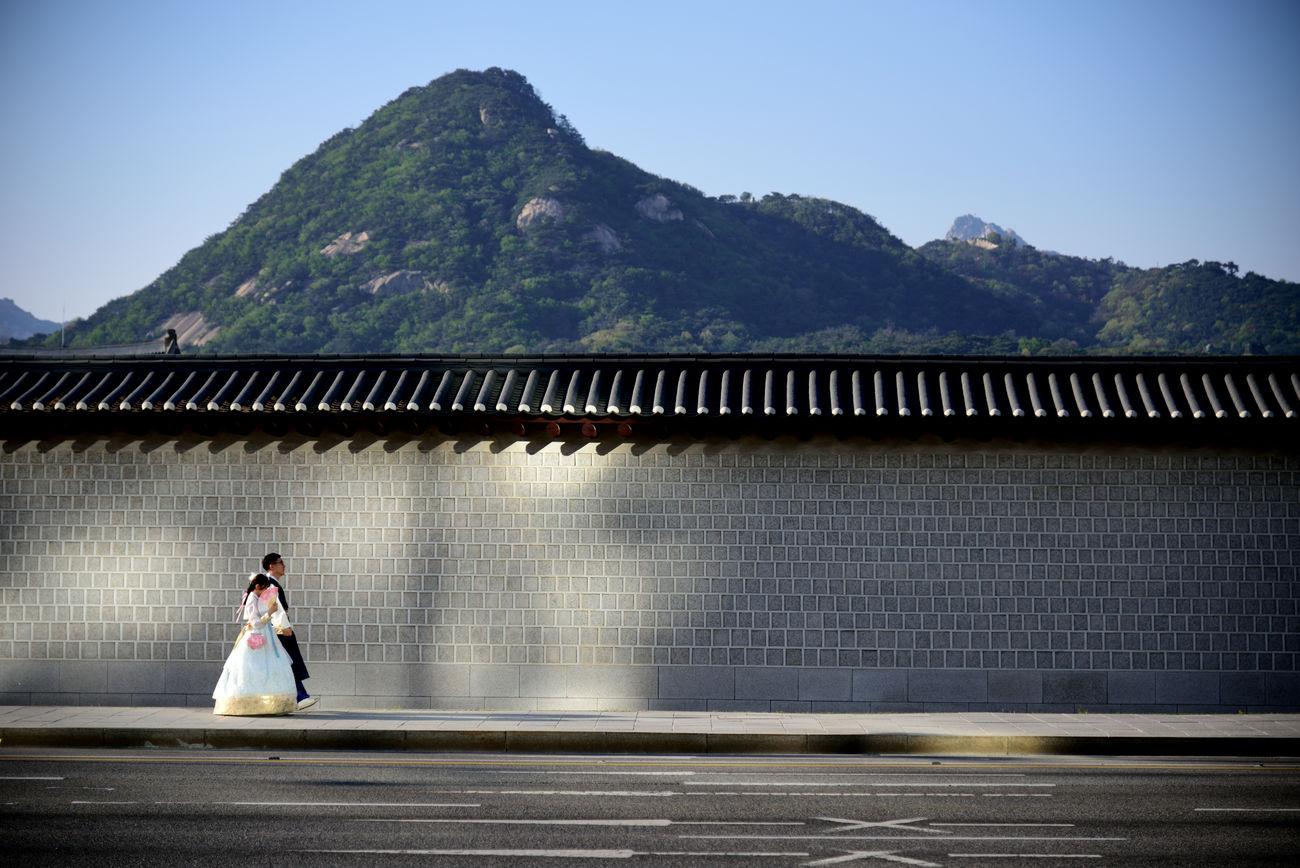 Architecture Beauty In Nature Bride Building Exterior Built Structure Clear Sky Day Mountain Nature One Person Outdoors People Seoul, Korea Sky Wedding Dress Well-dressed Women Young Adult