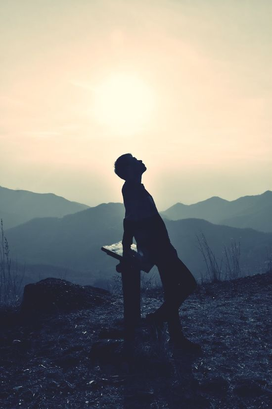One Person Sky Lifestyles Mountain Men Nature Beauty In Nature Sunset Outdoors Day Black Copy Space Adventure Landscape Sunset_collection EyeEmNewHere Sun Black And White Sunlight And Shadow Sunrise Silhouette Standing Colorful One Man Only Sunlight