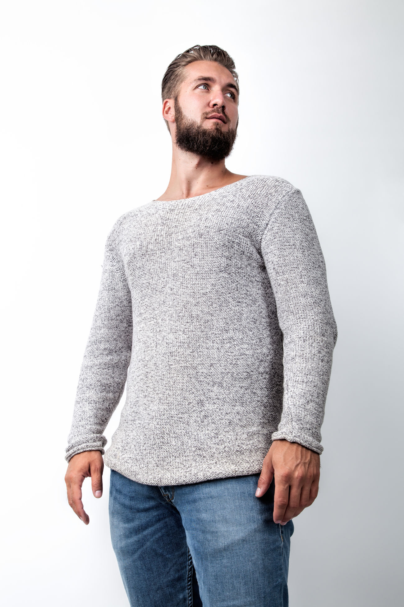 Portrait of an attractive man with a beard Attractive Background Bearded Casual Fashion Full Length Guy Handsome Happy Isolated Jeans Lifestyle Looking Man Model One People Person Portrait Pullover Sportive Standing Studio View White