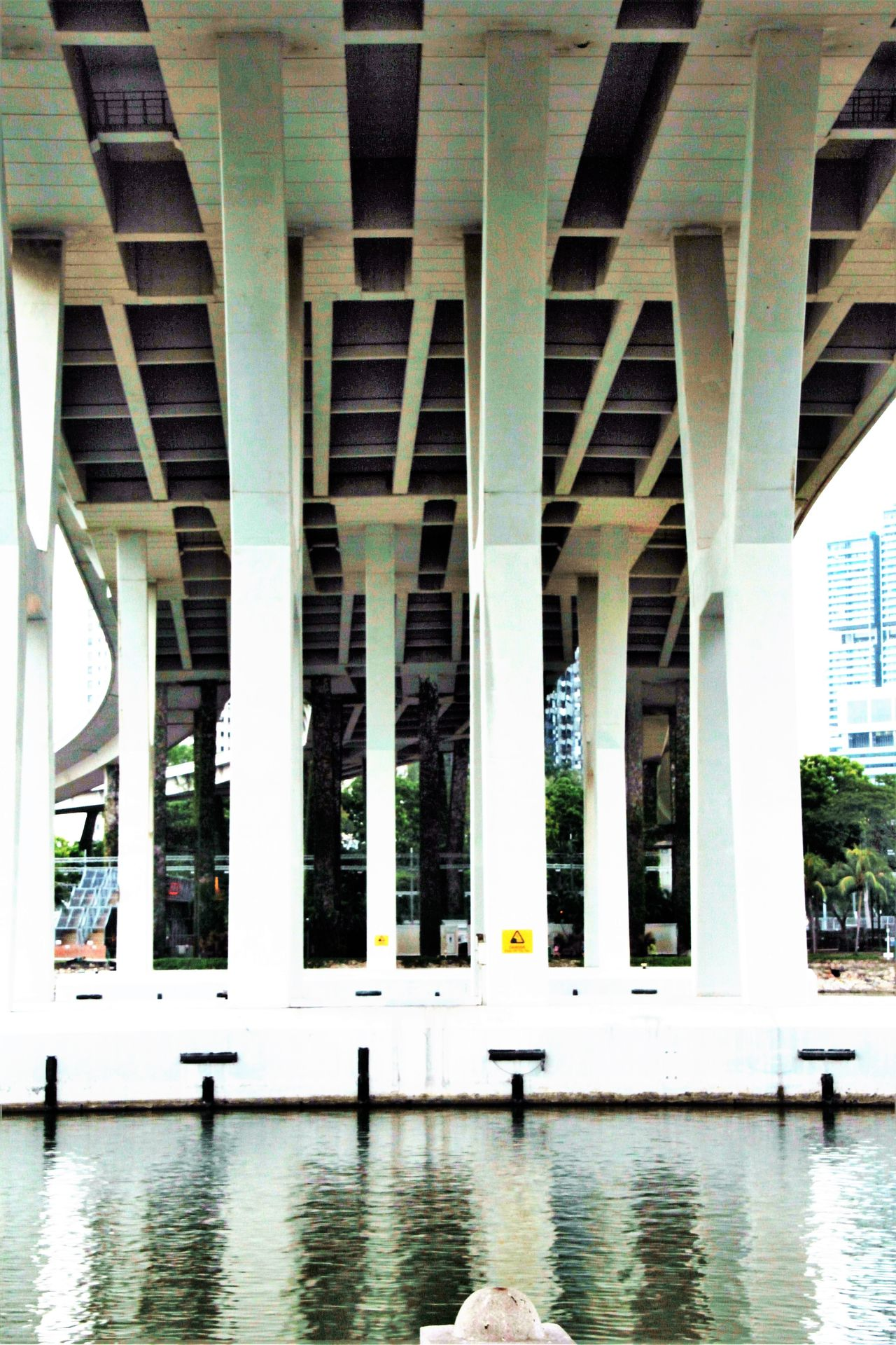 Underside of bridge over Marina Reservoir, Singapore Architectural Column Architectural Feature Architecture_collection Bridge - Man Made Structure Bridge Column Bridge Over Water Built Structure City Life Reflection SUPPORT