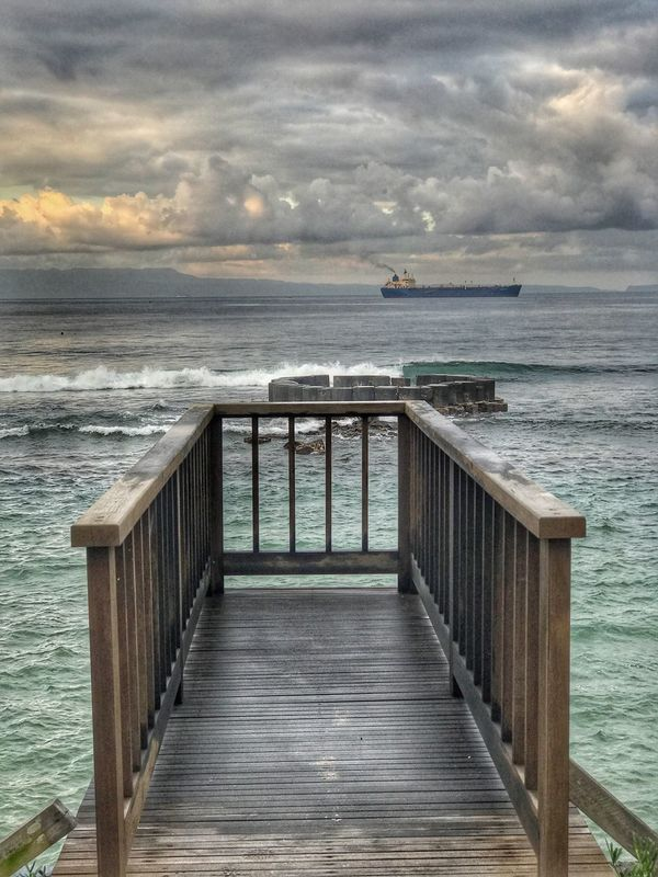 Sea Water Horizon Over Water Sky Railing Cloud - Sky Nature Outdoors No People Beach Tranquility