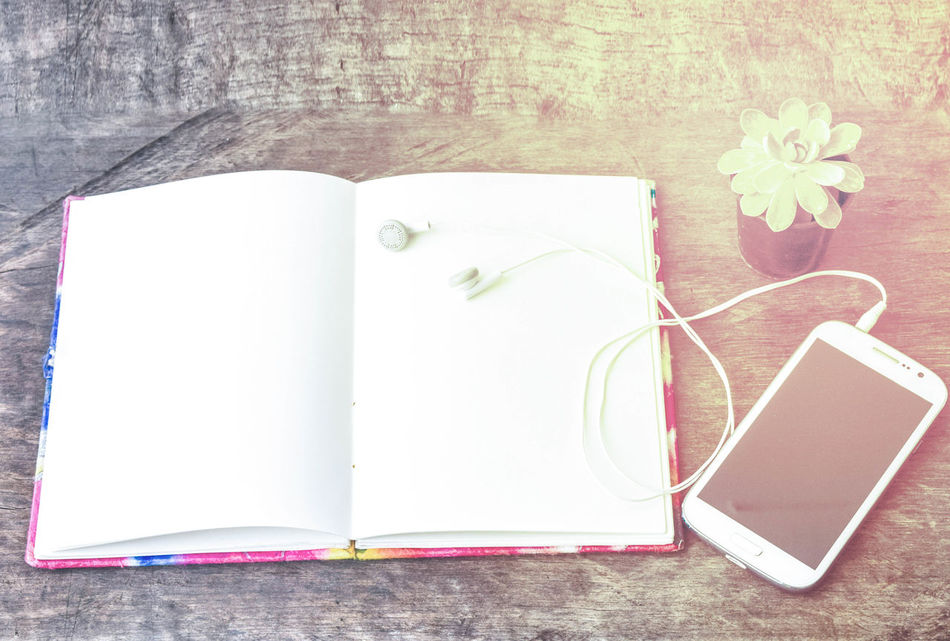 Blank Book Close-up Day Diary Directly Above Flower Indoors  No People Note Pad Page Paper Pencil Sketch Sketch Pad Still Life Table