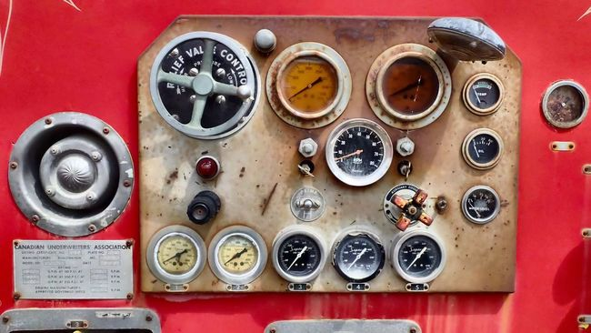 Pumper panel. Fire Truck Instruments Dials Guages  Patina Switches Rust Never Sleeps Old Wheels Panel Red