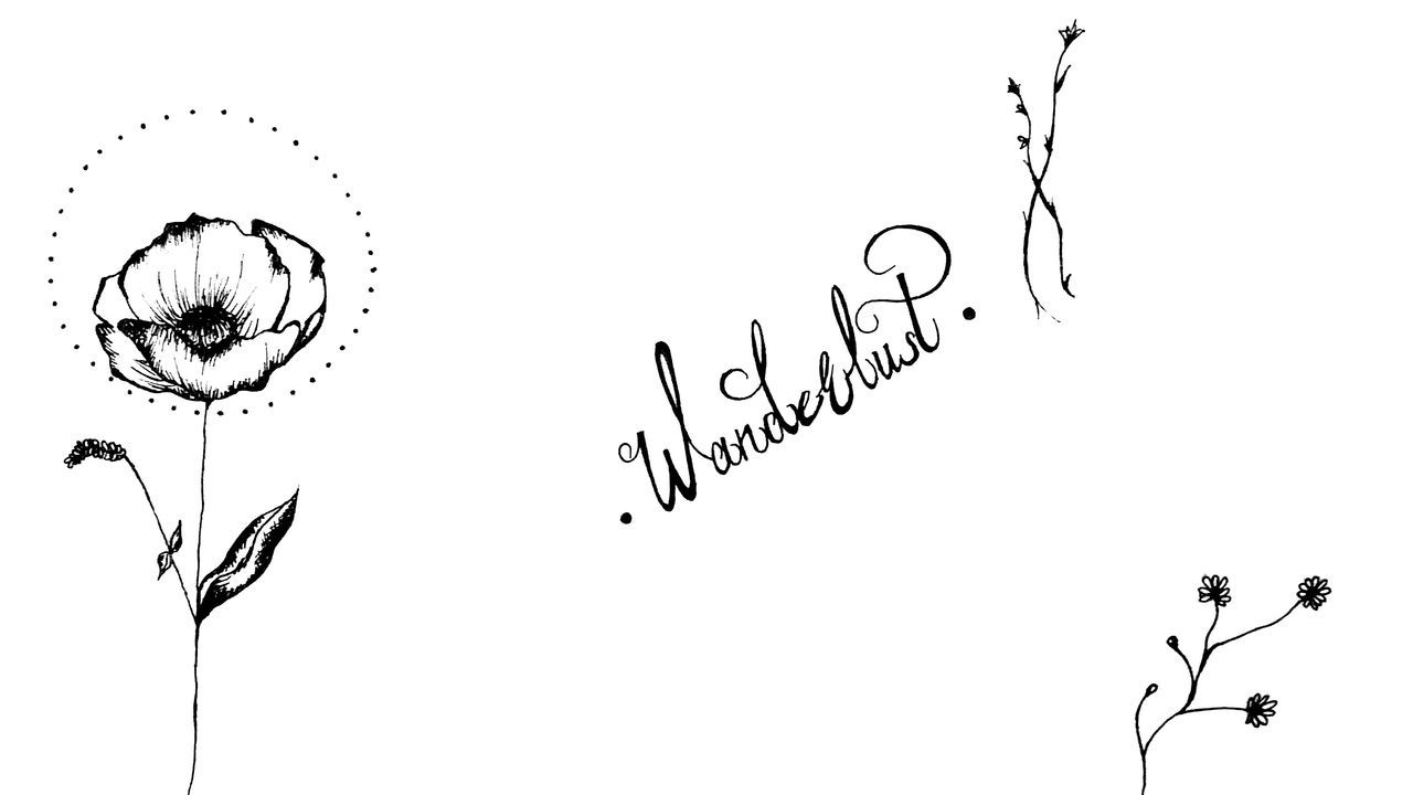 Handdrawn Calligraphy My Art Flower Wanderlust Delicate Patience Dots Lines Typography