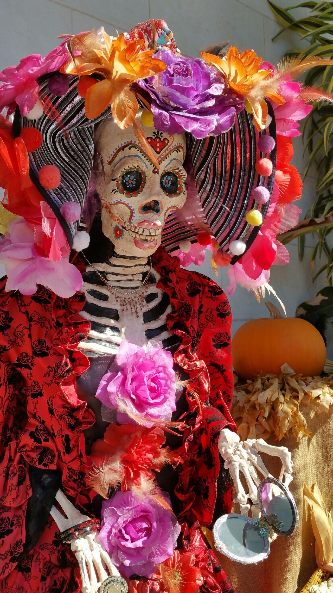 Dia De Los Muertos Calavera  Catrina Colors Brilliant Colors Red Big Hat Face Paint Mexican Culture Mexican Tradition November 2 Day Of The Dead