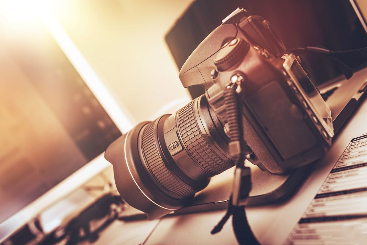 Photographer Equipment and Desk. Arts Culture And Entertainment Camera - Photographic Equipment Close-up Day Digital Camera Imaging Indoors  Music No People Photo Photographer Photography Themes Radio Station Recording Studio Sound Recording Equipment Technology