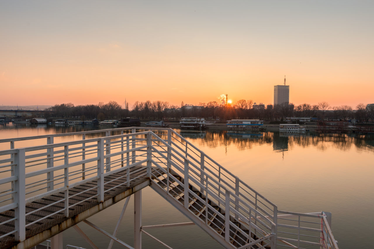 Stairway Down to Somewhere Arriving Somewhere Belgrade Capital Cities  Clear Sky Danube Getting Somewhere Melancholic Landscapes Melancholy Modern Nature No People Outdoors Reflection River Riverside Stairs Stairway Stairway To Heaven Starigrad Sunset Sunset_collection Travel Travel Destinations Travel Photography Water