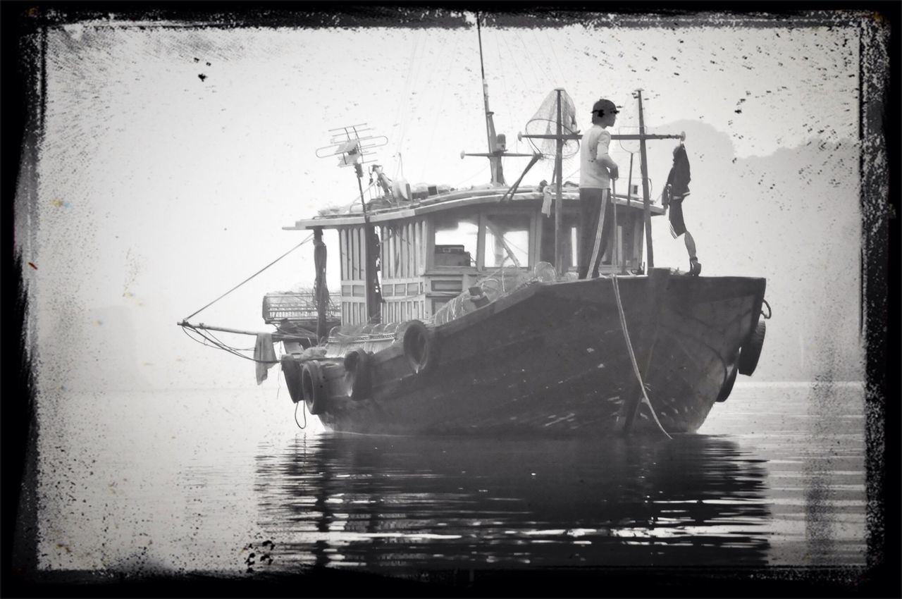 nautical vessel, water, transportation, outdoors, day, sea, men, nature, sky, people