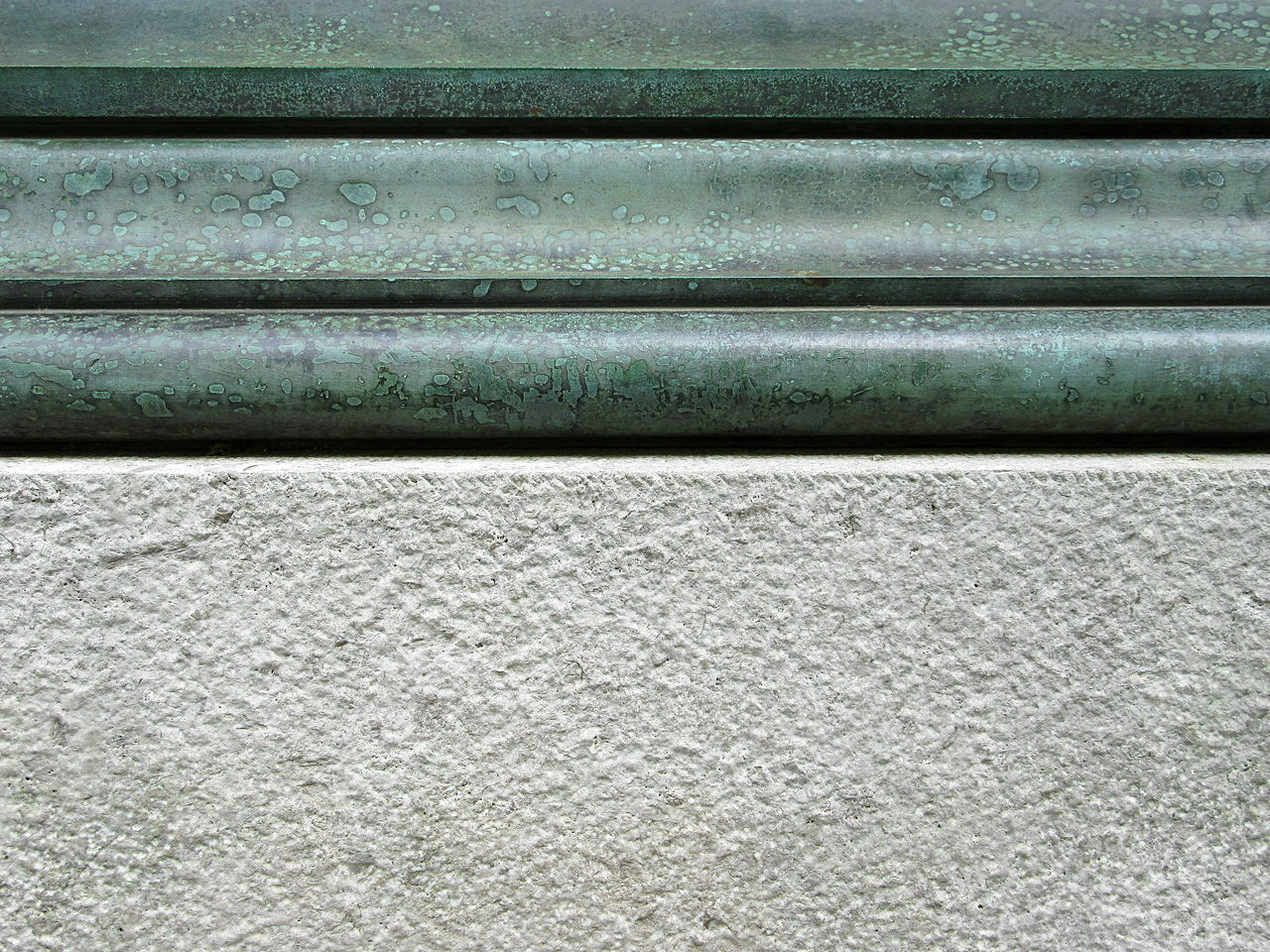 Full frame shot of grey concrete wall and and rusty metal moulding Backgrounds Close-up Day Full Frame Green Grey Marble Metal Moulding No People Outdoors Pattern Rusty Textured  Wall