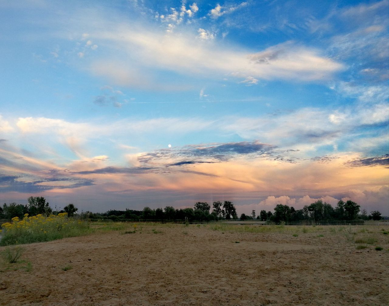 landscape, sky, nature, cloud - sky, beauty in nature, field, tranquility, tranquil scene, no people, scenics, tree, sunset, outdoors, day
