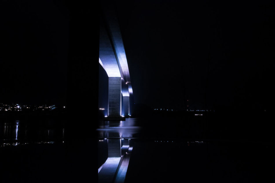 #bridge #Dark #industry #lights #nikond3300 #ocean #outdoor #sea #Stone #sønderborg Architecture Illuminated Modern Night No People Reflection Water Waterfront