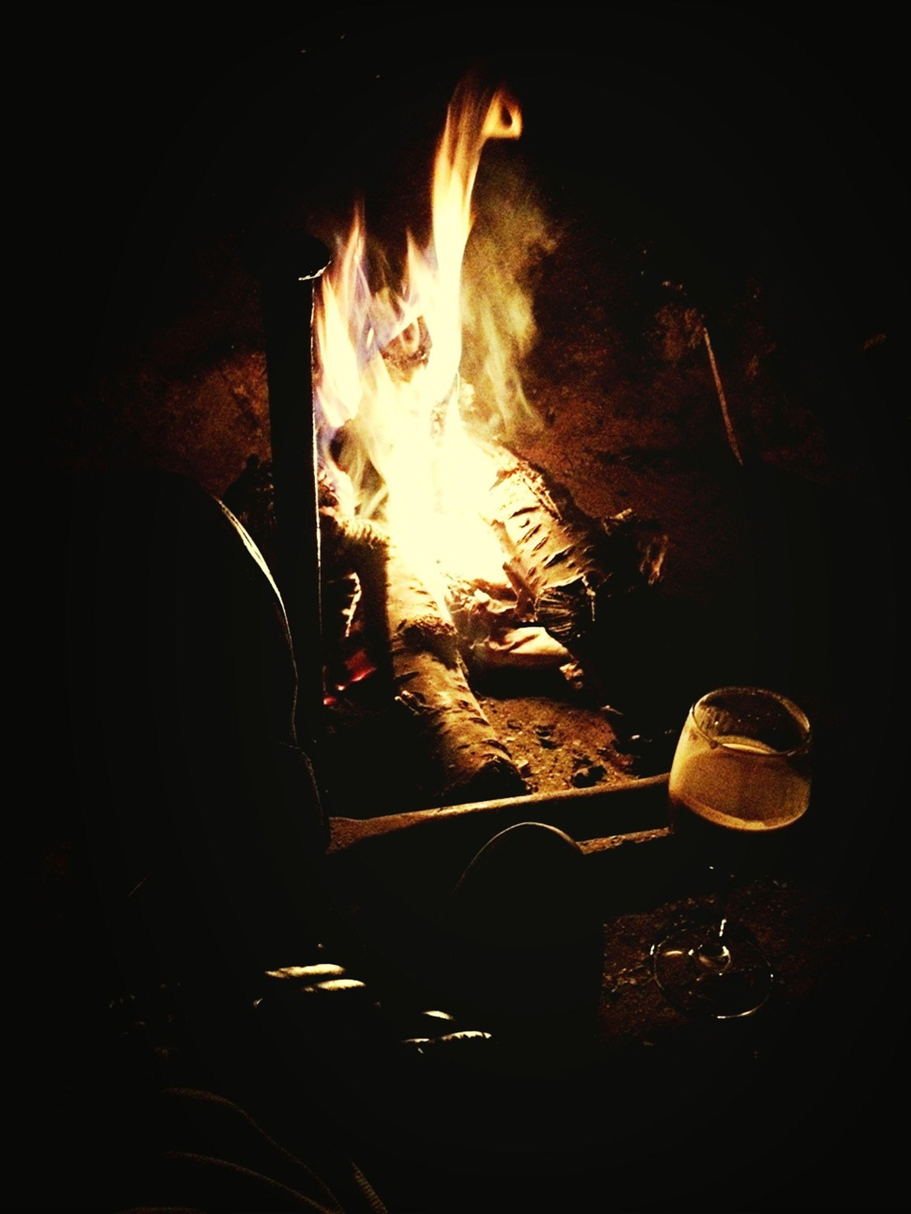 flame, burning, fire - natural phenomenon, heat - temperature, night, glowing, fire, indoors, bonfire, dark, illuminated, firewood, heat, candle, close-up, fireplace, light - natural phenomenon, campfire, wood - material, lit