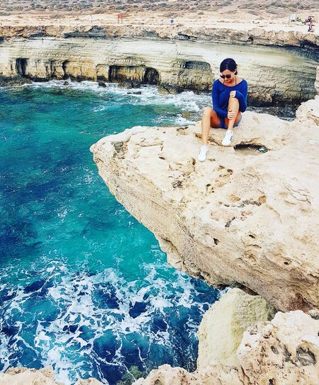 Water One Person Vacations Person Cyprus Sea Sea Caves Cyprus Nature Horizontal Sea Cave Rocks And Water