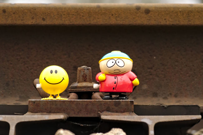 Best Friends Cartman Close-up Creativity Day Focus On Foreground Iron Metal Nikon No People Outdoor Photography Railway Rainy Days Showcase April Smily Southpark Still Life Toy Toy Adventures Yellow