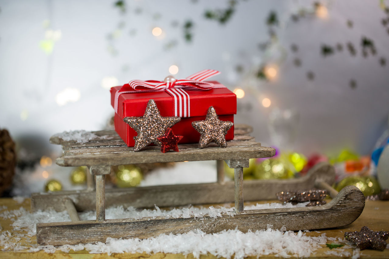 celebration, christmas, red, christmas decoration, no people, ribbon - sewing item, indoors, close-up, sweet food, day
