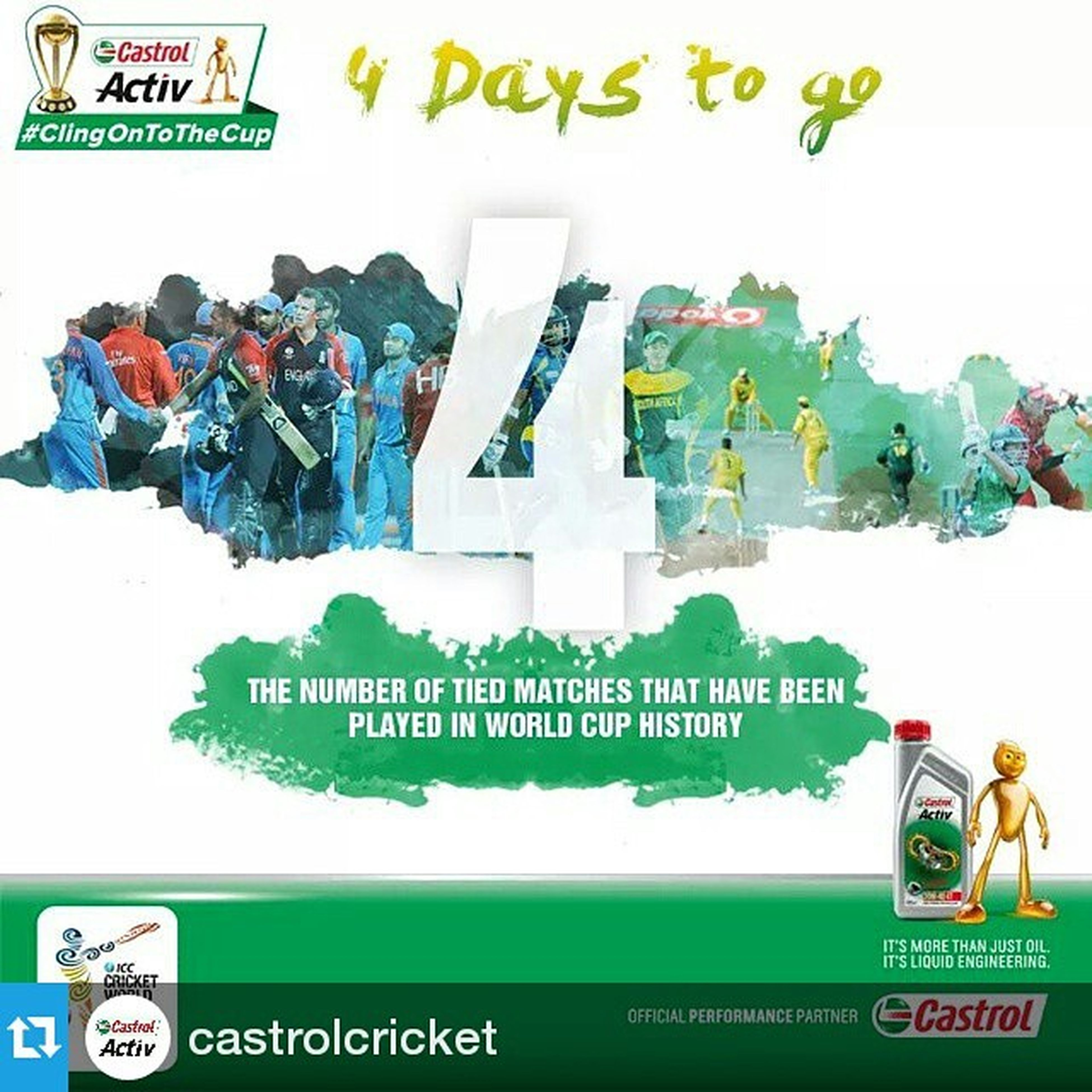 Repost @castrolcricket ・・・ South Africa have been involved in two tied matches in World Cup history and were knocked out of the tournament on both occasions. Can their luck change this time around? ClingOnToTheCup Cricket CricketFanatics InstaCricket India Zimbabwe SouthAfrica Australia Ireland SriLanka Countdown CWC2015