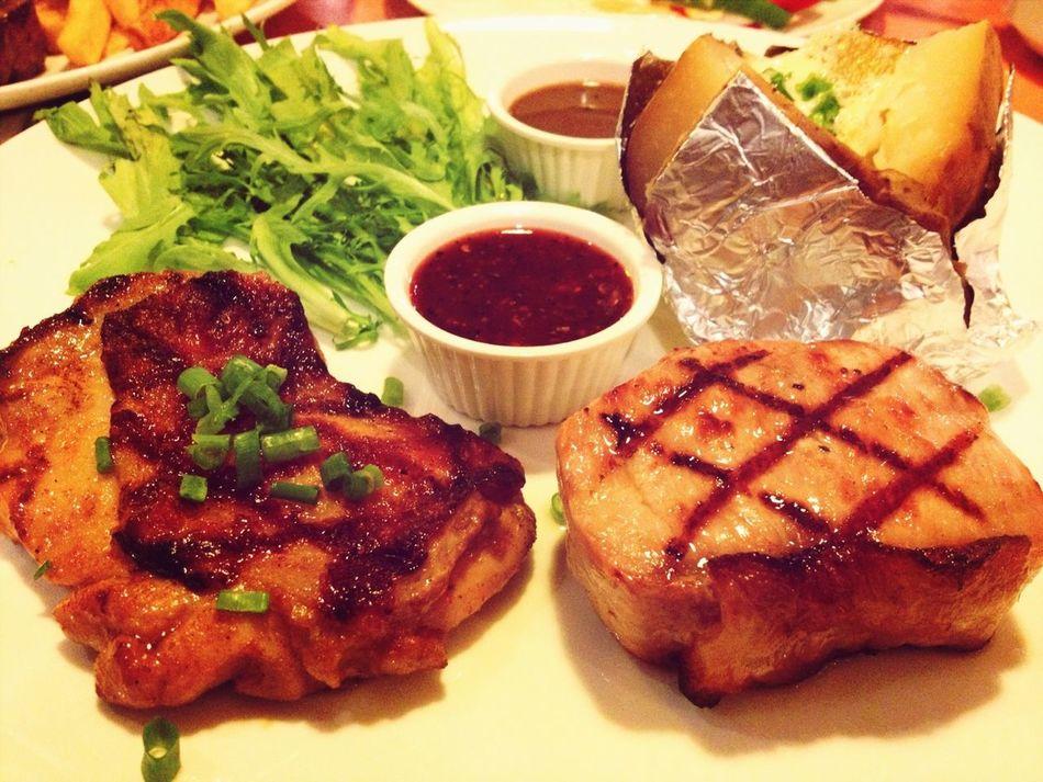 spicy grilled chicken and pork steak ;p