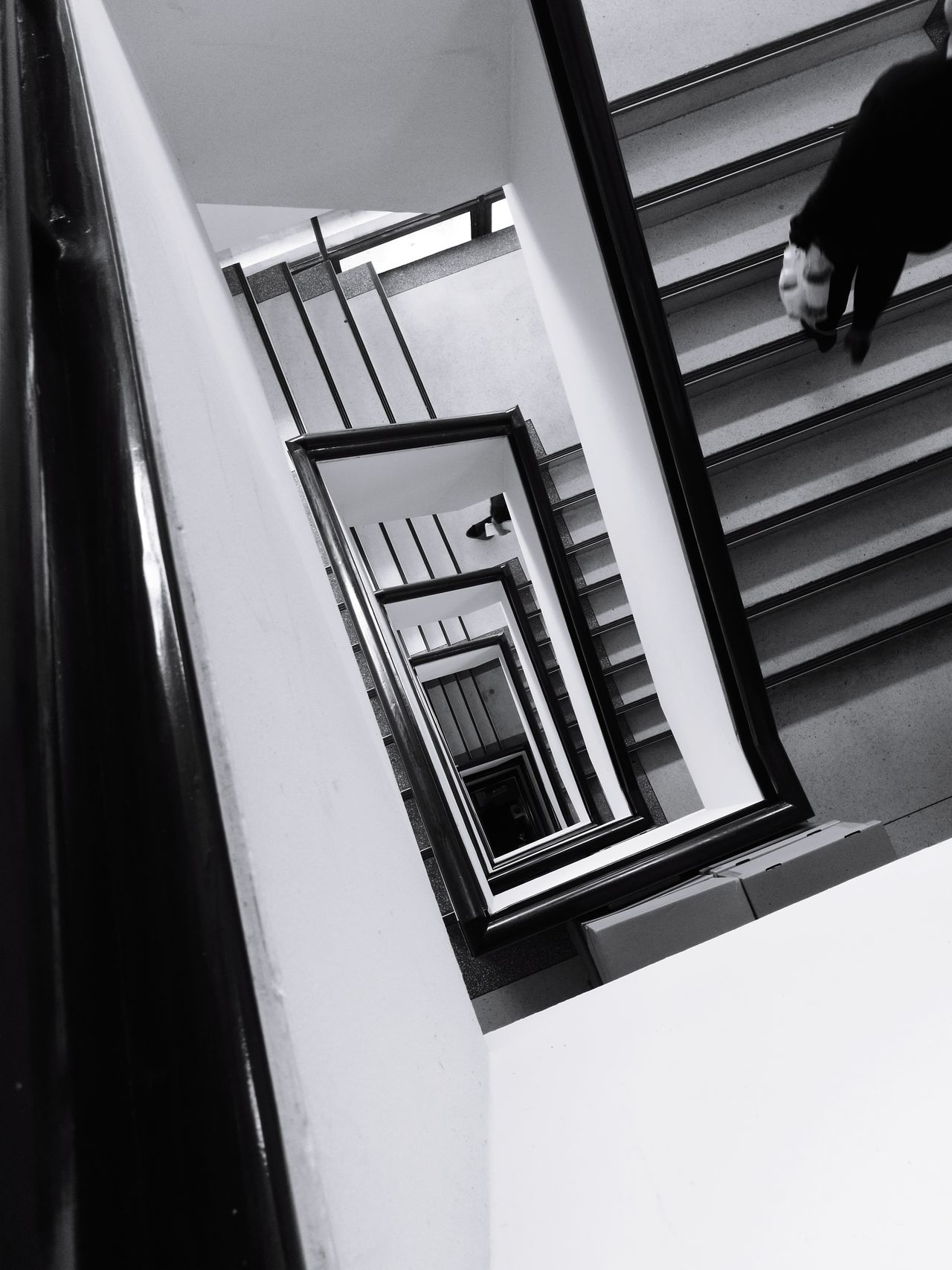 Staircase Steps And Staircases Built Structure Railing Steps Architecture High Angle View Building Exterior Spiral Staircase Indoors  No People Day EyeEm Best Shots EyeEmBestPics Focus On Foreground Blackandwhitephotography Black&white EyeEm Thailand Indoors  Steps Indoors  Low Angle View Indoors  Architecture