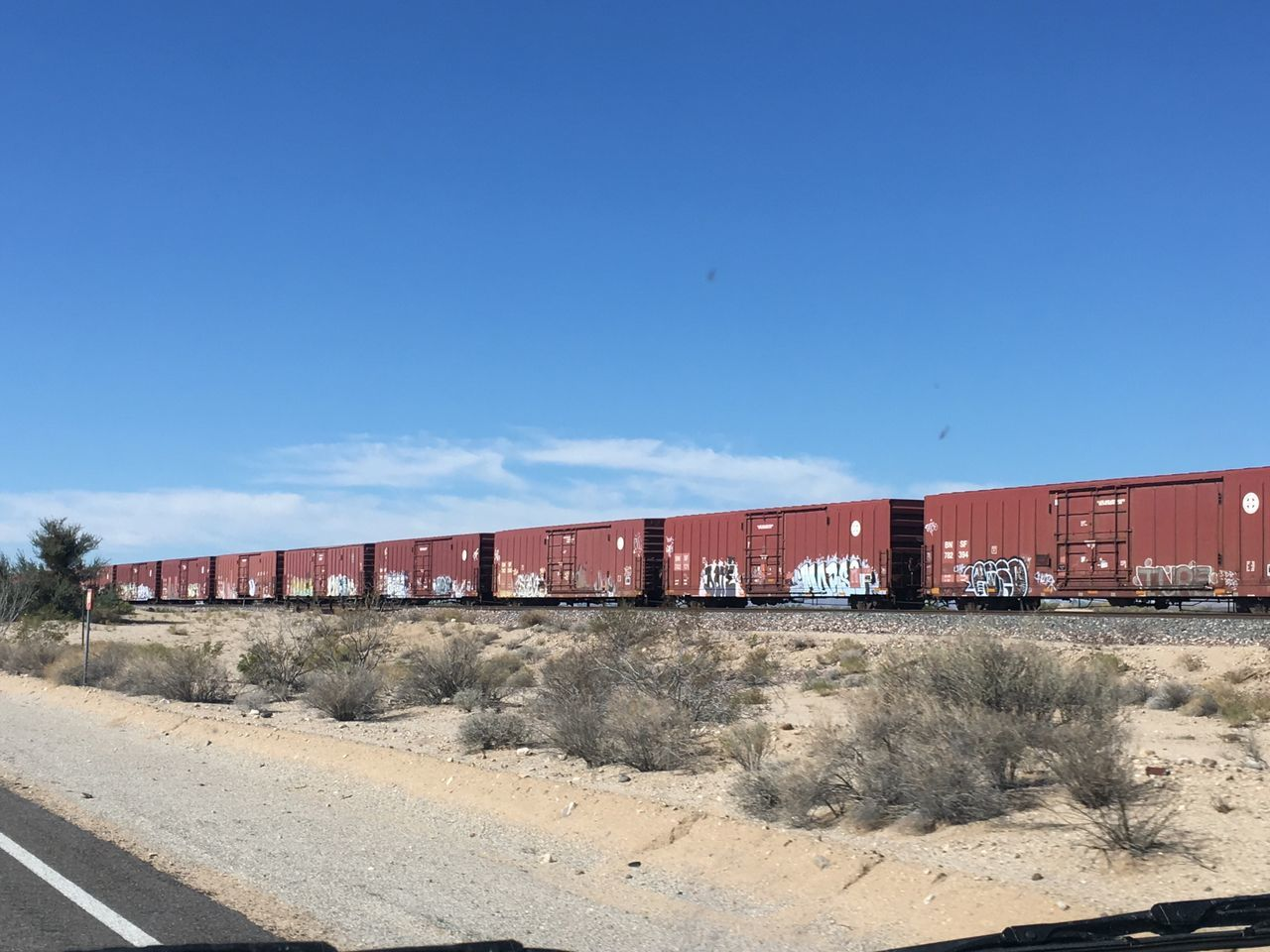 Scenics No People Sky Road Train Cars Rusty Things Trainphotography Drivingshots No Edit No Filter Landscape Backroads Driving Around Desert Sky