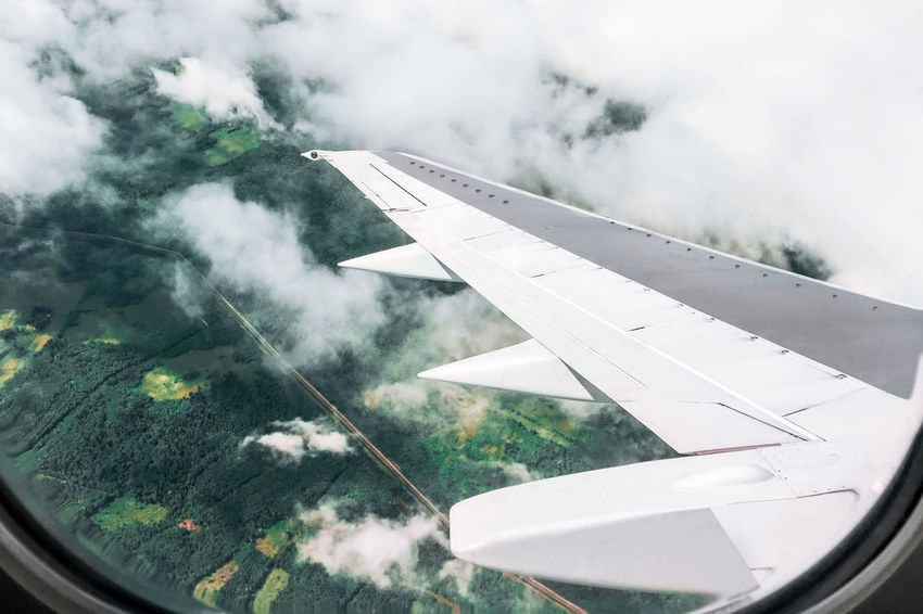 Green Wing Air Air Vehicle Airplane Airplane Wing Clouds Day Flying Forest Nature Transportation Travel Window
