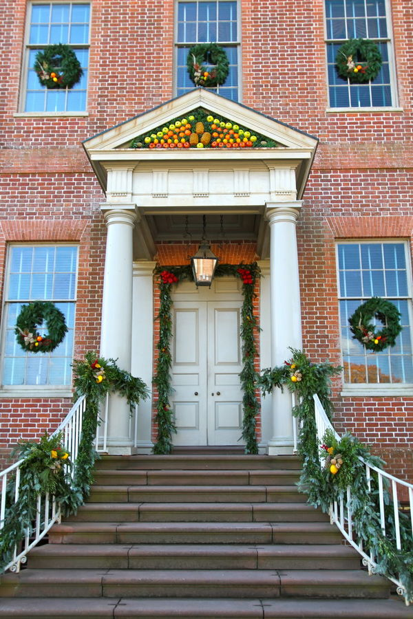Christmas Tryon Palace Architecture Building Exterior Built Structure Chirstmas Decorations Colonial Colonial Architecture Day Flower History House New Bern N. C. No People Outdoors Staircase Steps Steps And Staircases