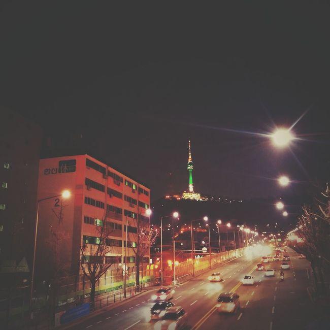 Cities At Night Seoul, Korea Seoul Itaewon Namsan Tower