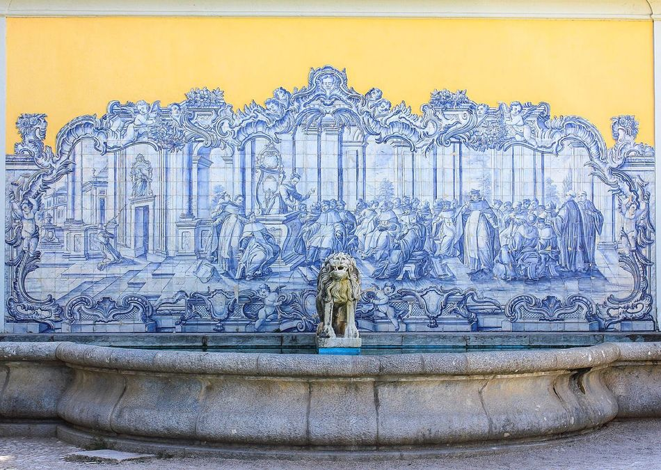 Fountain Portugal Tiles Art Blue