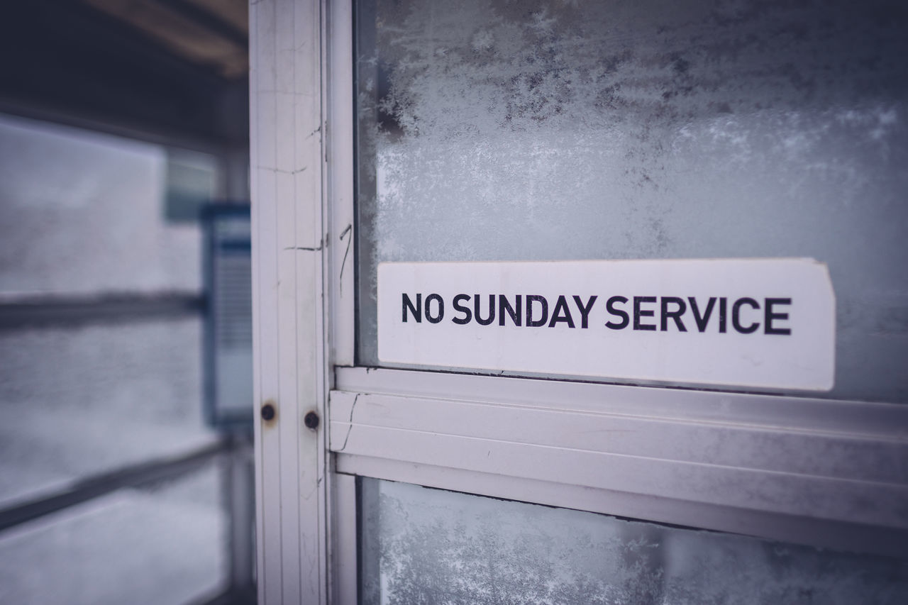 Bus Stop Door Entrance Frosted No Sunday Service Opening Outside Sign Sign Snow Window Winter My Commute