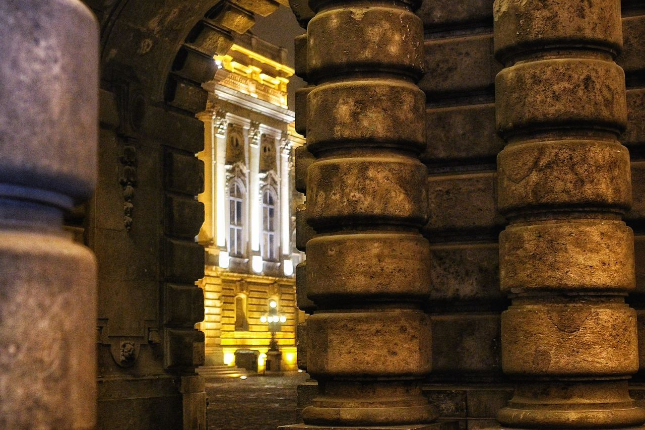 religion, place of worship, spirituality, architectural column, architecture, history, built structure, no people, illuminated, statue, sculpture, building exterior, indoors, ancient civilization, day
