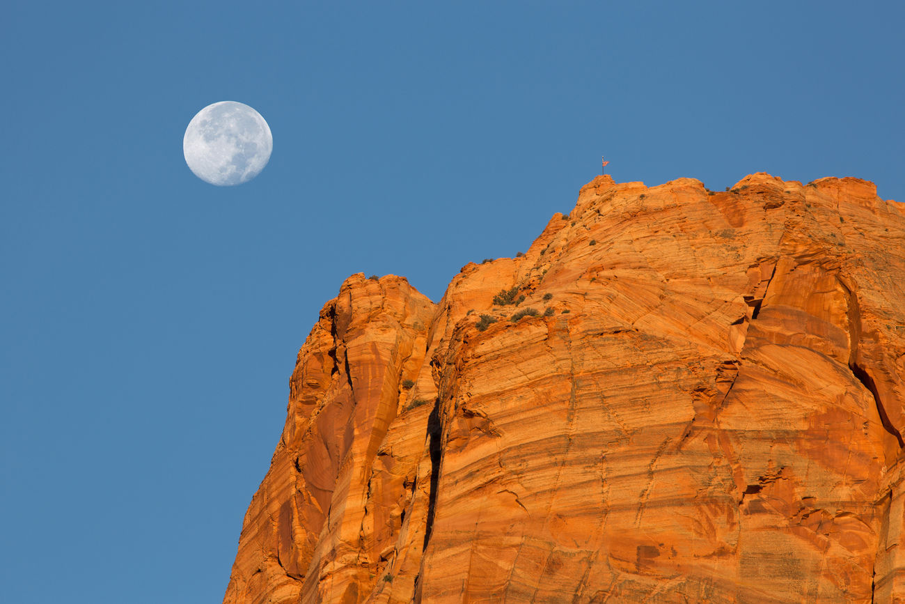 Moon over a mountain Moon Full Moon Sky Utah Nature No People Beauty In Nature Scenics Outdoors Cliffs Amazing Southwest  Desert Moonset Moonset At Sunrise Desert Landscape Landscapes