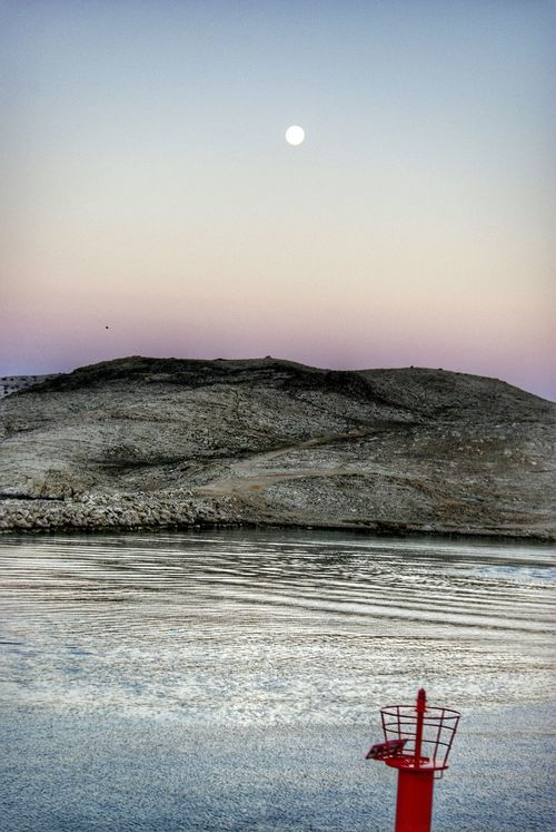 Early Morning Moon Moonlight Rocky Coastline Sea Seashore Seascape RAB Croatia Red Tower Steel Tower  Red Accent Pastel Power Landscapes With WhiteWall Landscape The KIOMI Collection