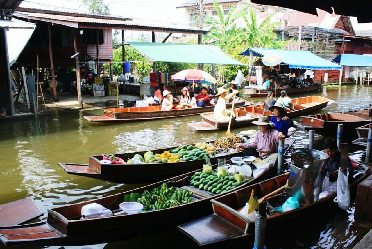 Side View Of Floating Market