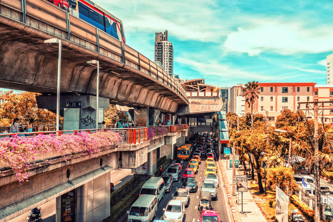raffic moves on several different levels in Bangkok, Thailand. Architecture ASIA Bangkok Building Built Structure City City Life City Street Cloud Day Outdoors Sky Thailand Traffic Travel Destinations