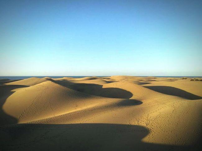 Dunes Sand Dunes Sand Distant Sea Blue Sky Golden Sand Gran Canaria First Eyeem Photo