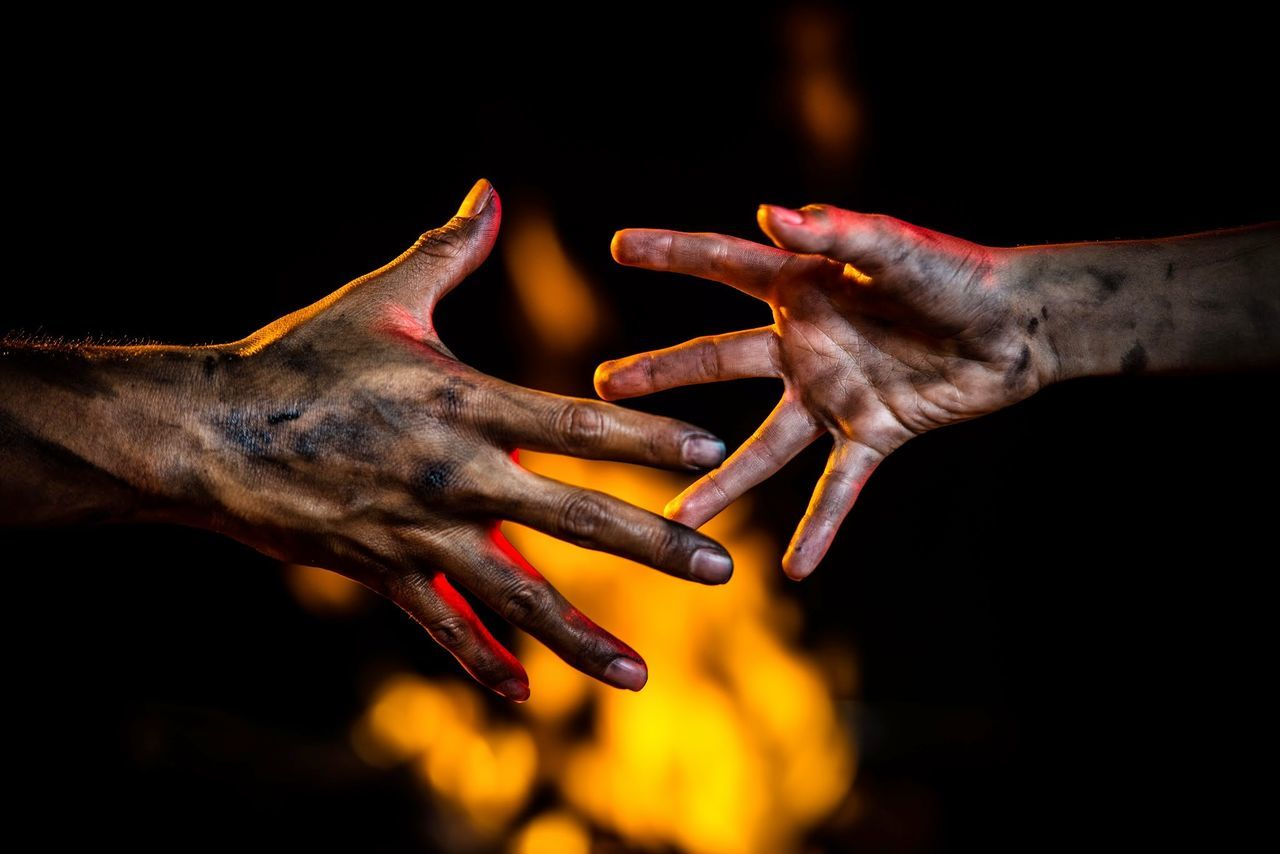 Done for a critique Almost Cropped Dirty Fire Focus On Foreground Hands Human Person Rescue