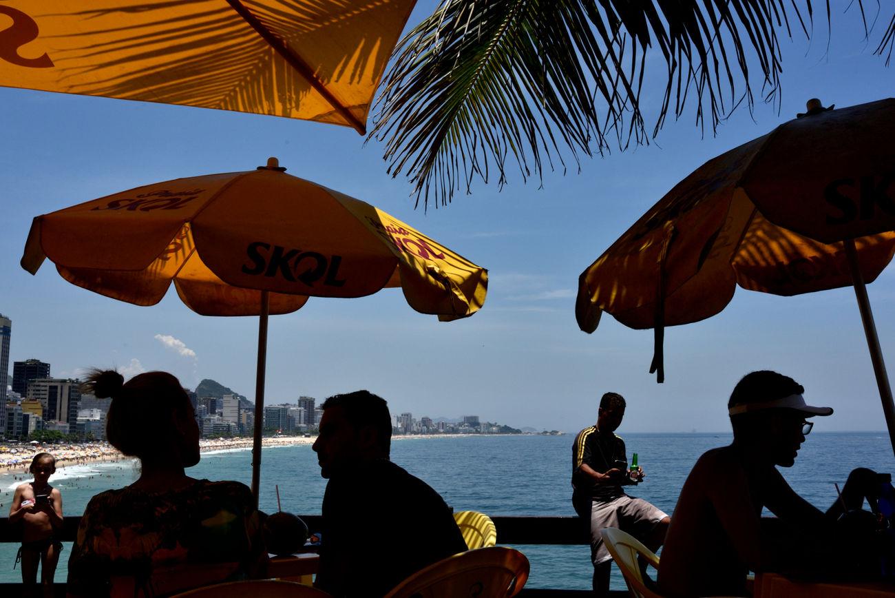 Ipanema view Beach Brazil Ipanema Beach Palm Palm Tree Parasols People Rio Rio De Janeiro Sea Silhouette Yellow The Street Photographer - 2017 EyeEm Awards
