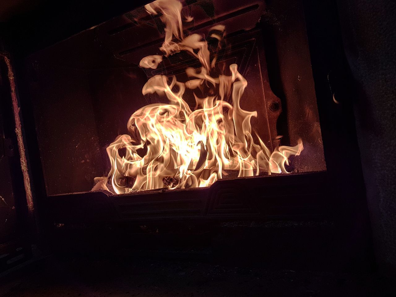 no people, flame, burning, night, indoors, home interior, wood - material, heat - temperature, close-up