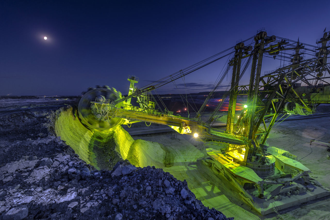 Russia, Stary Oskol, Stoilensky GOK, bucket wheel excavator, Stripping Beauty In Nature Blue Bucket Wheel Excavator Glowing Green Color Growth Idyllic Illuminated Lens Flare Nature Night No People Outdoors Plant Scenics Sky Stripping The Land Tranquil Scene Tranquility